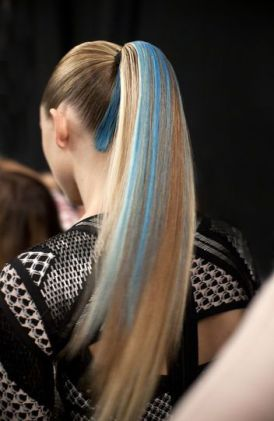 Blue hair streaks at Herve Leger fall 2014 pinterest